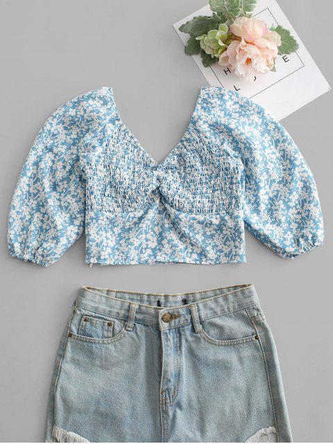 womens Tiny Floral Print Shirred Crop Top - BLUE L Mobile
