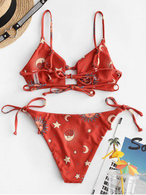 women's ZAFUL Star Moon Sun Print Cutout Ribbed String Bikini Swimwear - LAVA RED L Mobile
