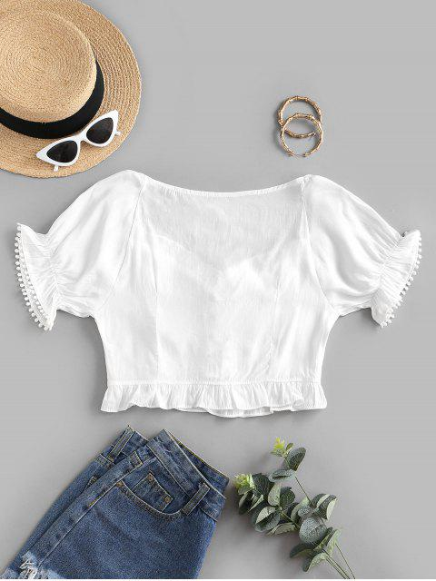 affordable Picot Trim Frilled Lace Up Blouse - WHITE S Mobile