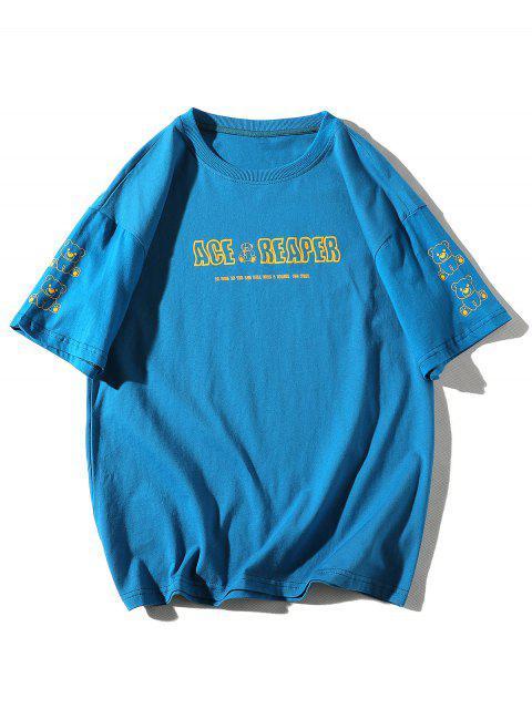Maglietta a Girocollo con Motivo a Lettera e Orso Dei Cartoni Animati - Blu 3XL Mobile