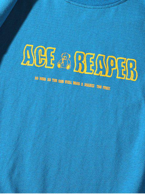 sale Cartoon Bear Drawing Letter Print Basic T-shirt - BLUE 3XL Mobile