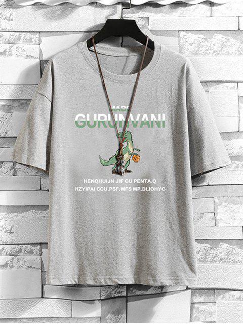 Cartoon Dinosaur Letter Pattern Basic T-shirt - رمادي فاتح 2XL Mobile