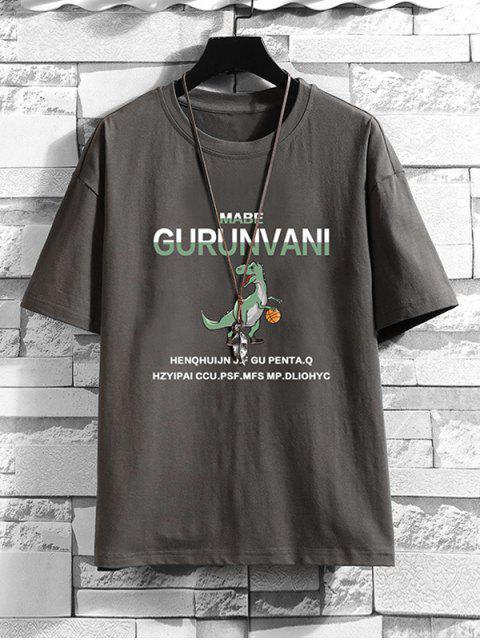T-shirt de Base Motif deLettre et deDinosaure Dessin Animé - Gris Foncé 3XL Mobile
