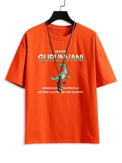 affordable Cartoon Dinosaur Letter Pattern Basic T-shirt - ORANGE XL Mobile