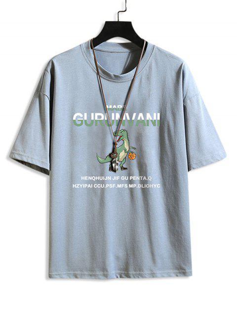 Cartoon Dinosaur Letter Pattern Basic T-shirt - جينز ازرق 2XL Mobile