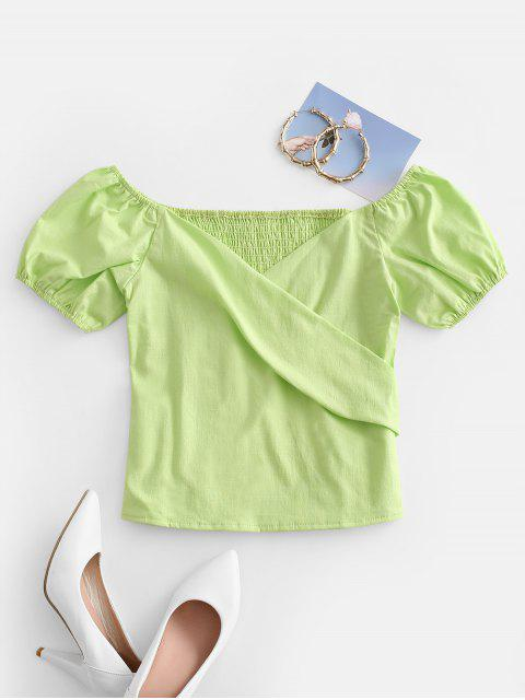 shops Puff Sleeve Shirred Surplice Blouse - GREEN SNAKE S Mobile