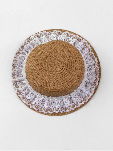 best Faux Pearl Lace Straw Hat - BROWN  Mobile