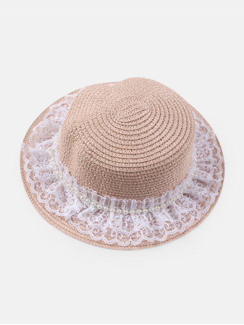 Künstliche Perle Spitze Strohhut - Rosa  Mobile