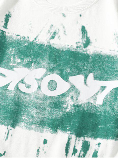 T-Shirt Basic con Grafica di Lettere - Bianca 3XL Mobile