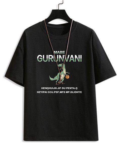 Carta Padrão Dinossauro dos Desenhos Animados T-shirt - Preto M Mobile