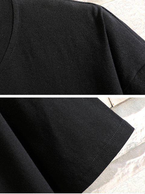 T-shirt con Motivo Dinosauro e Lettera a Fumetto - Nero 2XL Mobile
