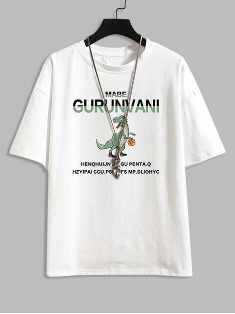 Cartoon Dinosaur Letter Pattern Basic T-shirt - أبيض 2XL Mobile