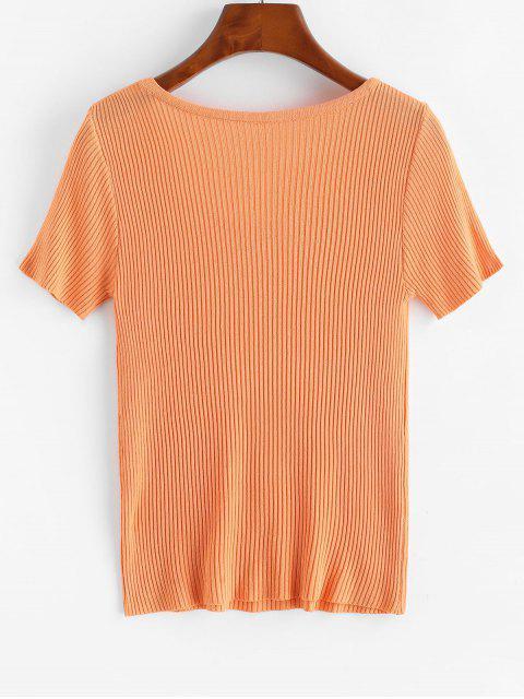new Ribbed Short Sleeve Slim Knit Tee - TIGER ORANGE ONE SIZE Mobile