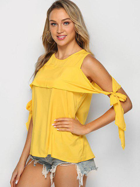 women Tie Sleeve Solid Cold Shoulder Blouse - SUN YELLOW L Mobile