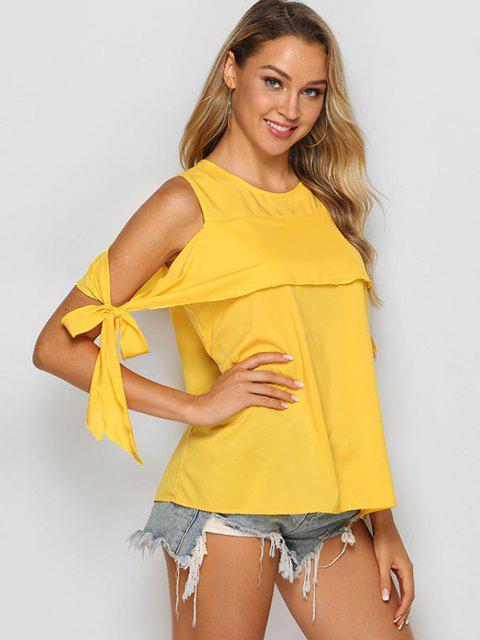 Tie Sleeve Solid Cold Shoulder Blouse - صن اصفر M Mobile