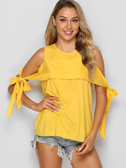 shops Tie Sleeve Solid Cold Shoulder Blouse - SUN YELLOW M Mobile
