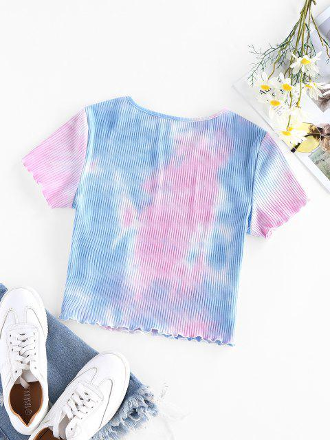 outfits ZAFUL Ribbed Tie Dye Crop T-shirt - MULTI-A S Mobile
