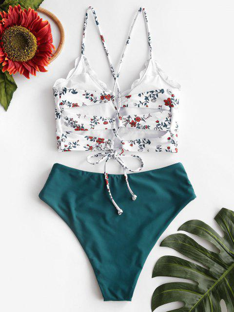 ZAFUL Blumendruck Überbackene Tankini Badebekleidung mit Schnürung - Multi-A S Mobile