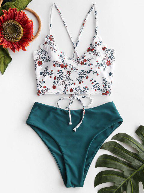 chic ZAFUL Flower Print Lace Up Scalloped Tankini Swimwear - MULTI-A XL Mobile