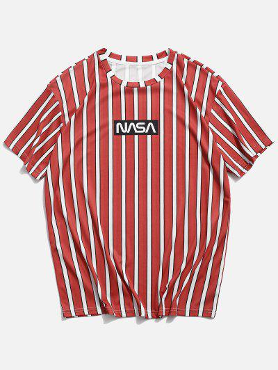Letter Striped Printed Short Sleeves T-shirt - Bean Red M