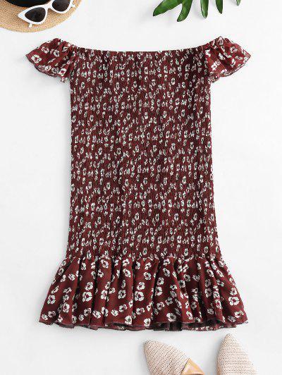 Floral Off Shoulder Smocked Flounce Dress - Red L