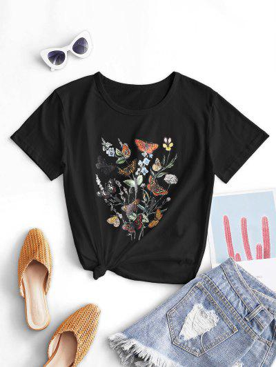 Butterfly Flower Knotted Cotton Basic Tee - Black M