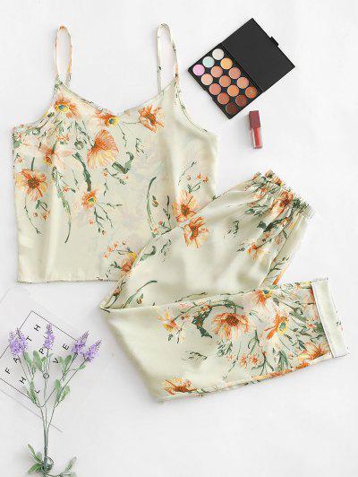 Floral Piping Pajama Set - Green M