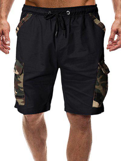 Camouflage Print Flap Pockets Drawstring Shorts - Black S