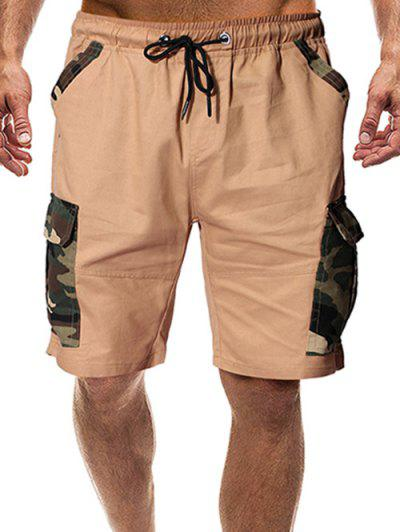 Camouflage Print Flap Pockets Drawstring Shorts - Khaki 2xl