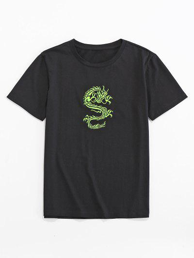 ZAFUL T-shirt De Base Dragon Oriental Brodé - Noir 2xl
