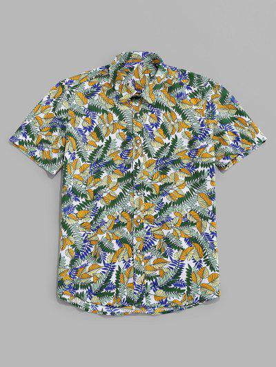 Tropical Leaf Allover Print Vacation Shirt - Multi 2xl