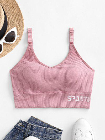 Ribbed Letter Graphic Sports Bra - Pink