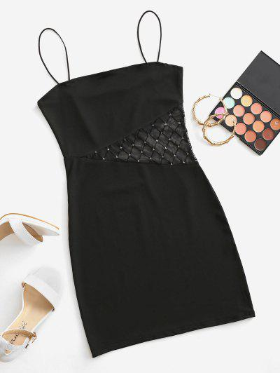 Bungee Strap Sparkly Lace Insert Mini Dress - Black L