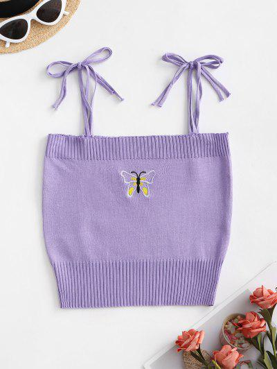 Butterfly Embroidered Tie Strap Knit Cami Top - Purple