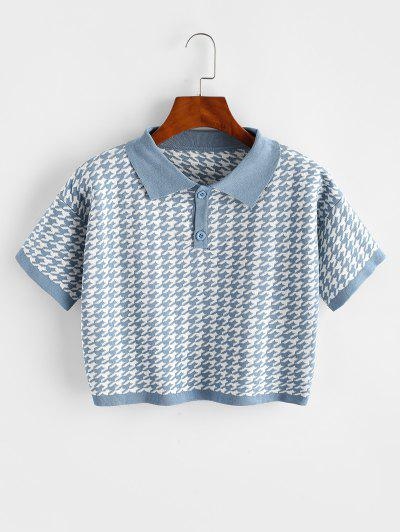 Two Buttoned Houndstooth Knitted Tee - Blue