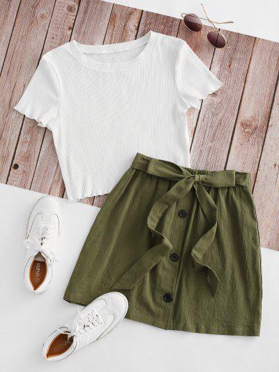 Vestido Duas Peças Com Nervuras - Branco S