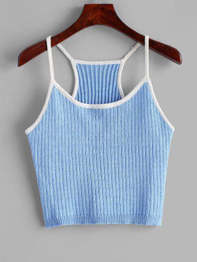 Knitted Racerback Ringer Cami Top - Dodger Blue