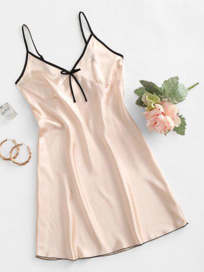 Contrast Trim Bowknot Satin Night Dress - Apricot S