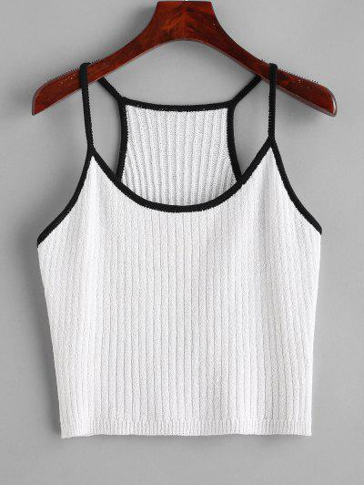 Knitted Racerback Ringer Cami Top - White