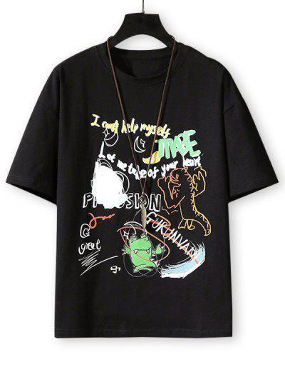 T-shirt De Base Animal Dessin Animé Lettre Graphique - Noir 3xl