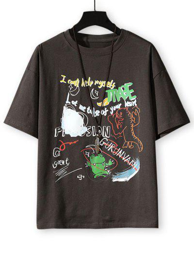 Cartoon Animal Letter Graphic Basic T-shirt - Dark Gray 3xl