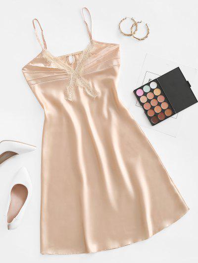 Eyelash Lace Satin Night Dress - Apricot L