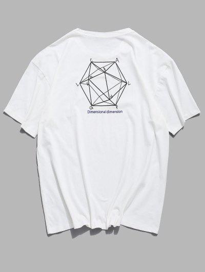 Dimensional Graphic Print Basic T-shirt - White 2xl