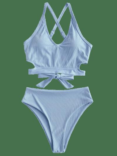 ZAFUL Ribbed Criss Cross High Waisted Tankini Swimwear