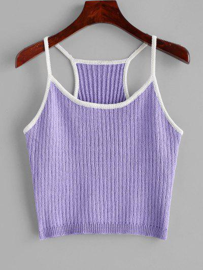Knitted Racerback Ringer Cami Top - Purple Mimosa
