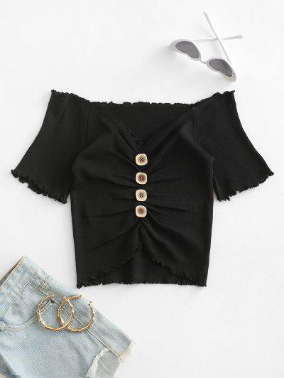 Mock Button Ruched Cropped T-shirt - Black