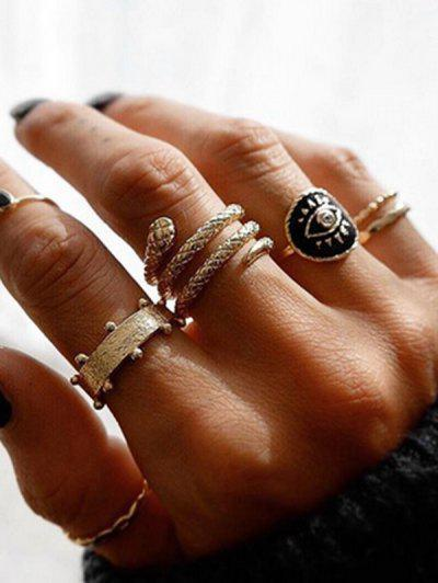 5Pcs Snake Carved Ring Set - Gold