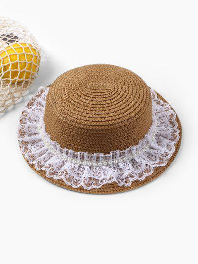Faux Pearl Lace Straw Hat - Brown