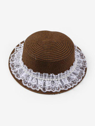 Faux Pearl Lace Straw Hat - Coffee
