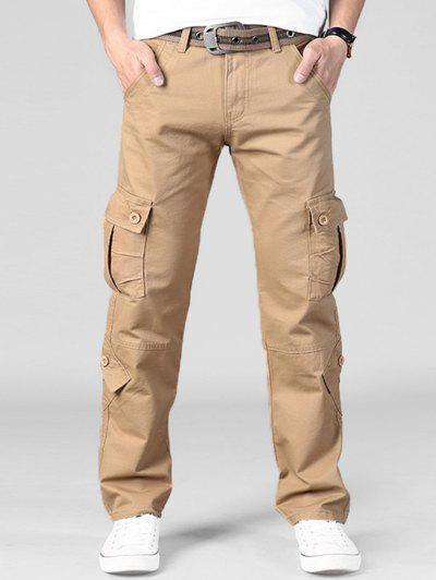 Plain Multi Flap Pockets Cargo Straight Pants - Khaki 40